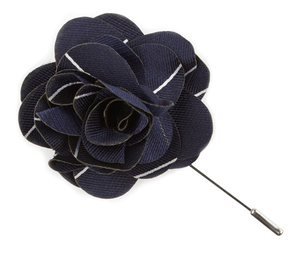Pencil Pinstripe Classic Navy Lapel Flower