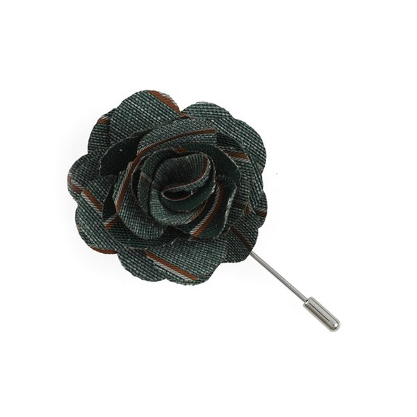 Pike Stripe Hunter Green Lapel Flower Pin