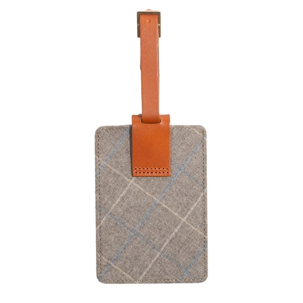 Grey Leather Luggage Tag