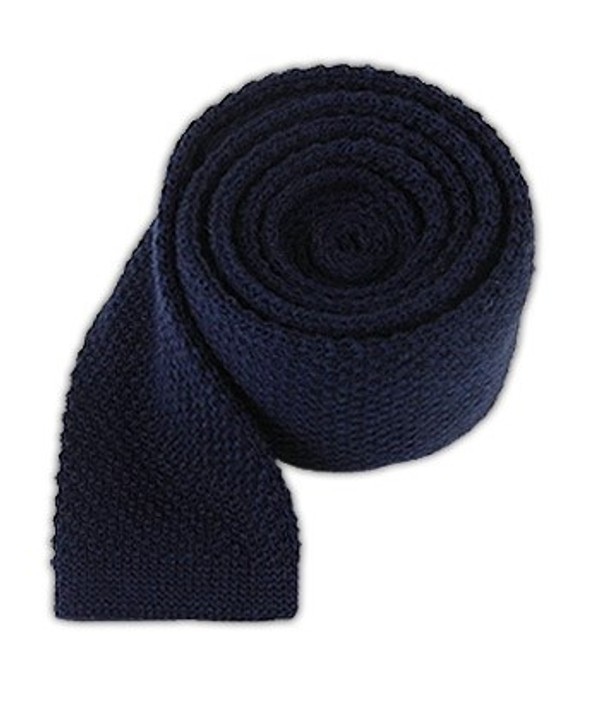 Knit Solid Wool Navy Tie