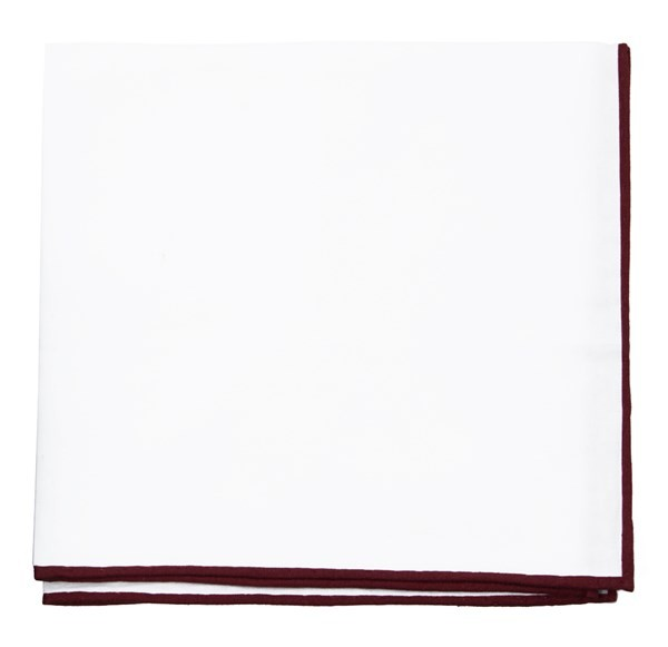 White Cotton With Border Burgundy Pocket Square
