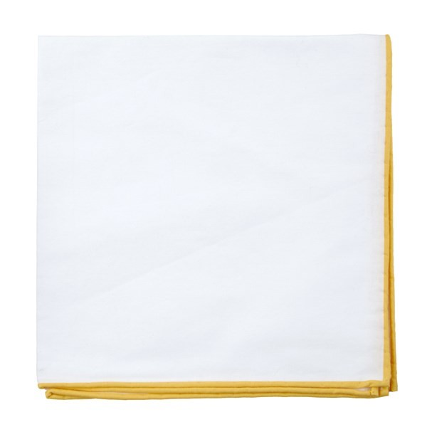 White Cotton With Border Yellow Gold Pocket Square