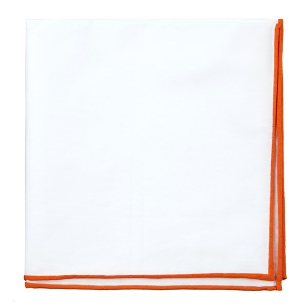 White Cotton With Border Tangerine Pocket Square