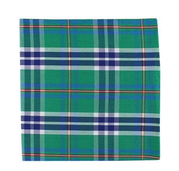 Elwood Plaid Green Pocket Square