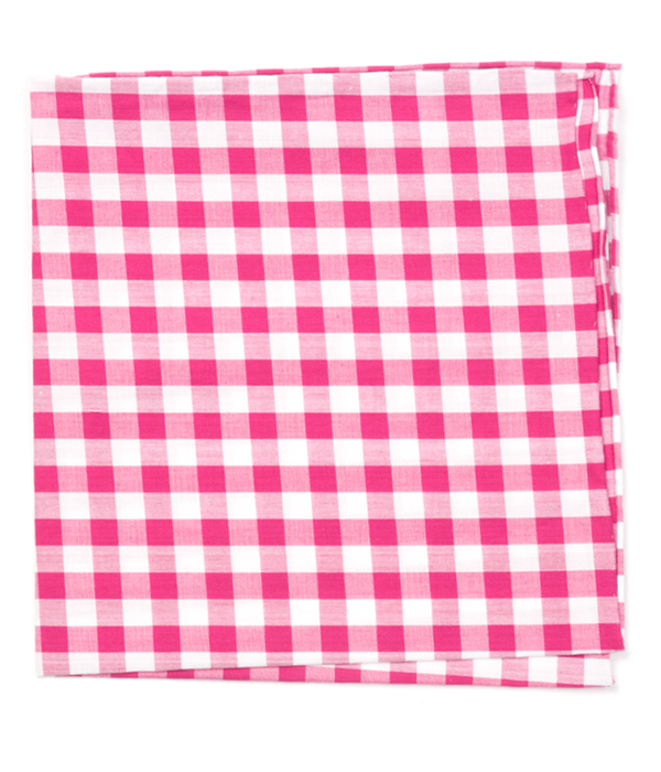 Classic Gingham Hot Pink Pocket Square