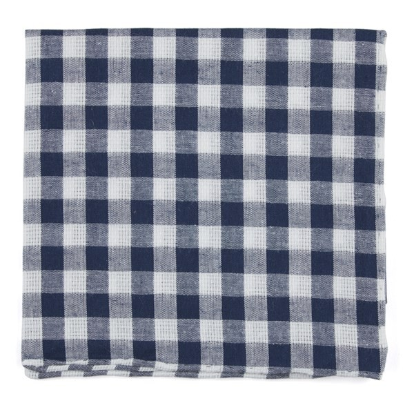 Trellis Plaid Navy Pocket Square