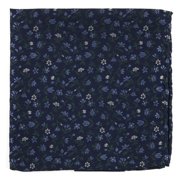 Floral Acres Navy Pocket Square