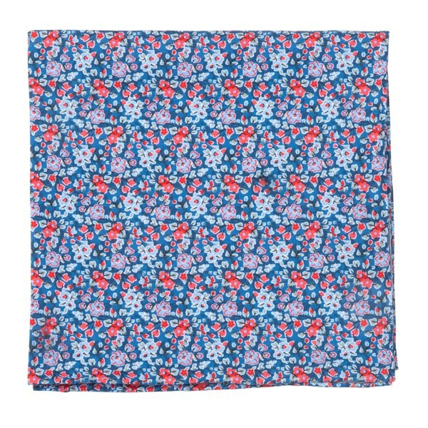 Freesia Floral Navy Pocket Square