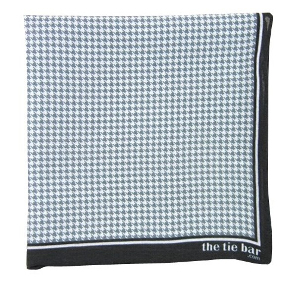 Printed Linen Houndstooth Faded Black Pocket Square