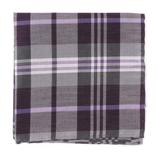 Crystal Wave Plaid Eggplant Pocket Square