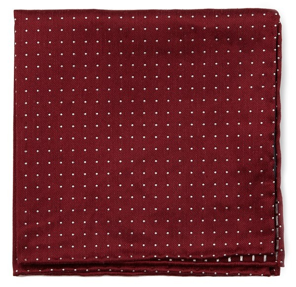 Rivington Dots Burgundy Pocket Square