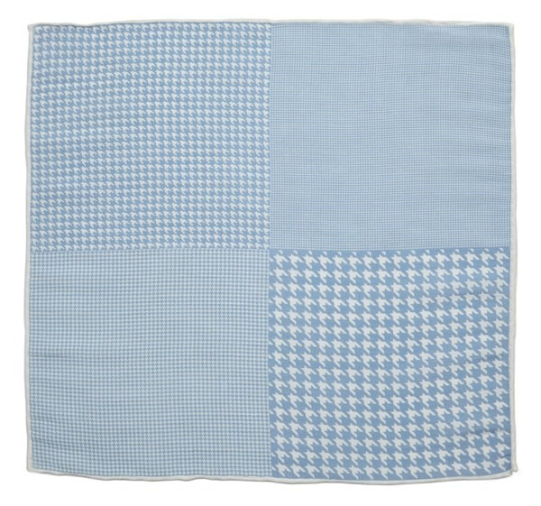 Linen Houndstooth Pane Light Blue Pocket Square