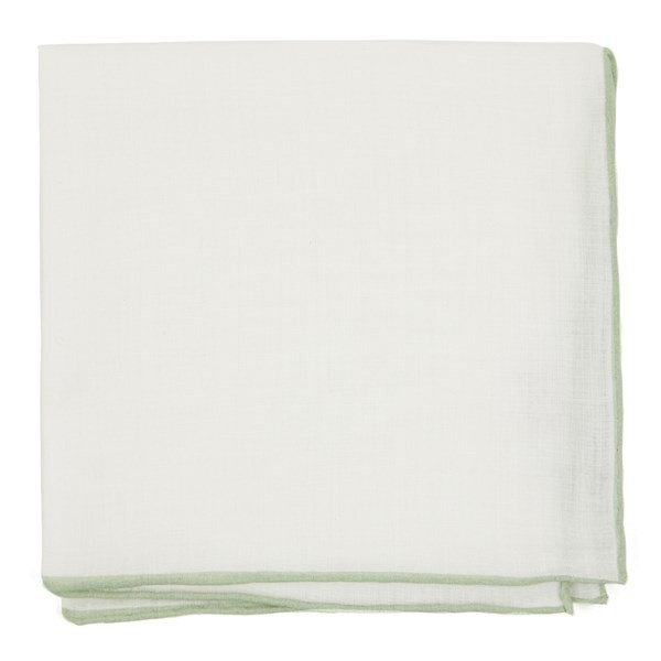 White Linen With Rolled Border Sage Green Pocket Square