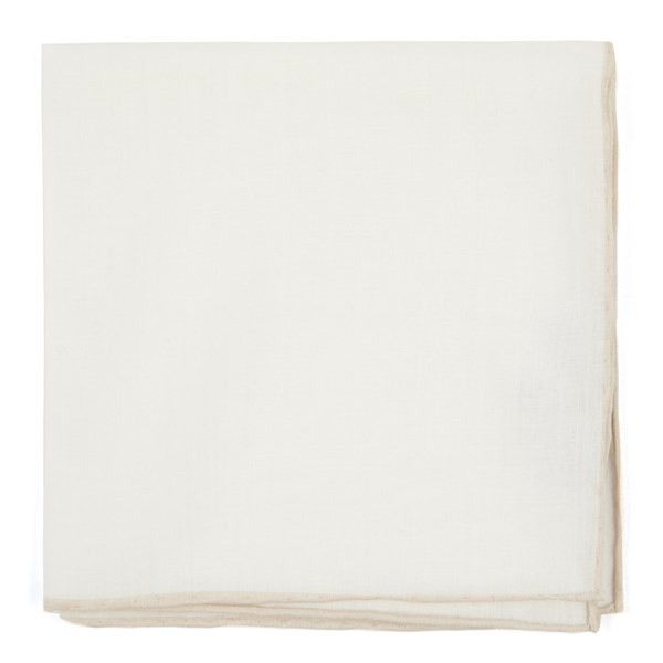 White Linen With Rolled Border Light Champagne Pocket Square