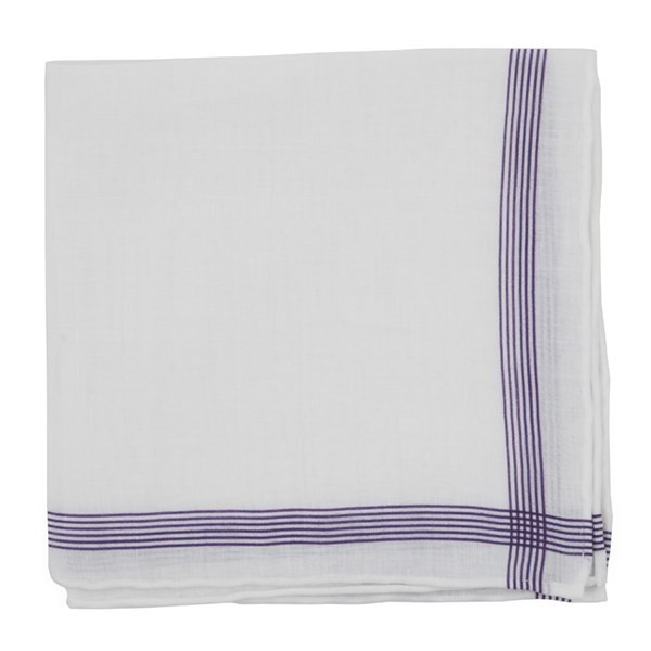 Old Town Border Purple Pocket Square