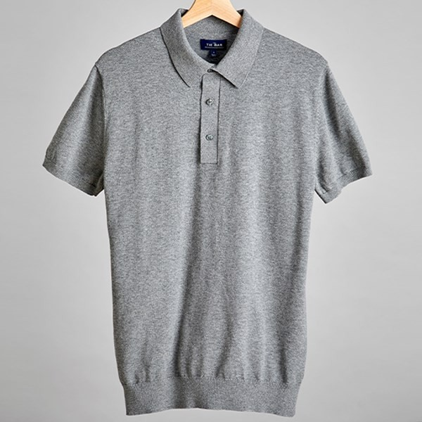 Solid Cotton Sweater Melange Grey Polo