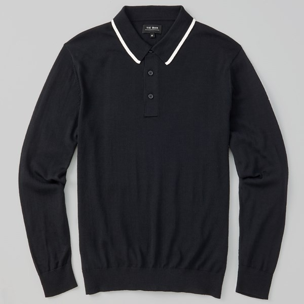 Perfect Tipped Merino Wool Black Polo