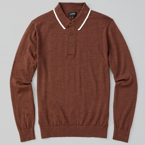 Perfect Tipped Merino Wool Chocolate Brown Polo