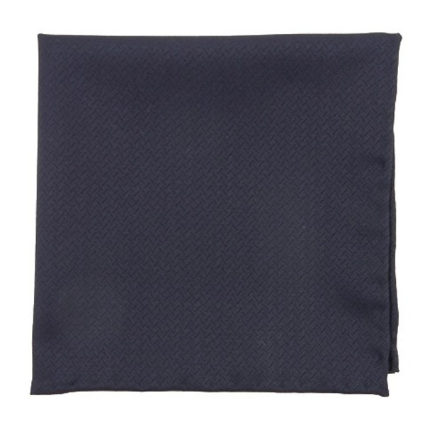 Midnight Navy Herringbone Blue Pocket Square