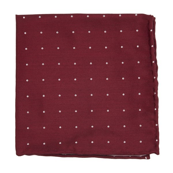 Dotted Report Red Pocket Square
