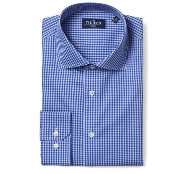 Two Tone Gingham Classic Blue Non-Iron Dress Shirt