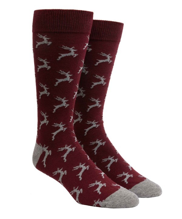Jumping Reindeer Burgundy Dress Socks
