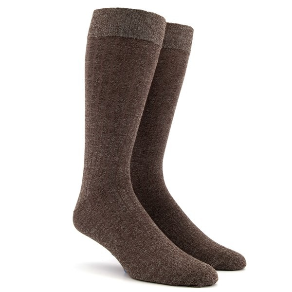 Wide Ribbed Heather Brown Dress Socks
