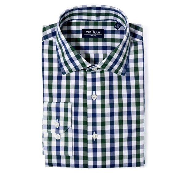 Large Two Color Gingham Hunter Green Non-Iron Dress Shirt