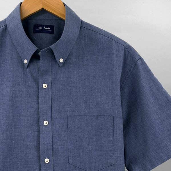 Solid Cotton Blue Short Sleeve Shirt