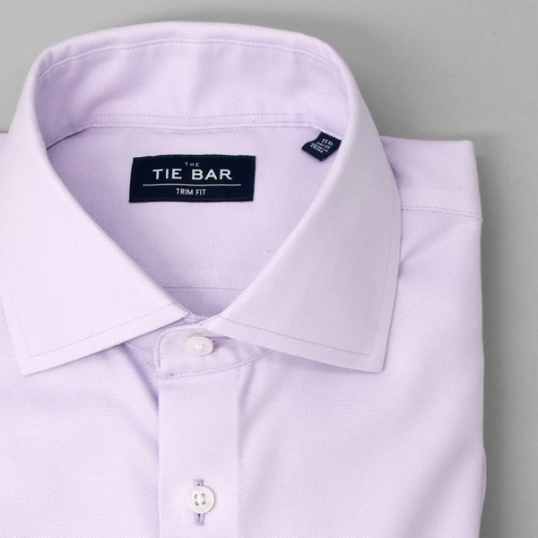 Textured Solid Lavender Non-Iron Dress Shirt