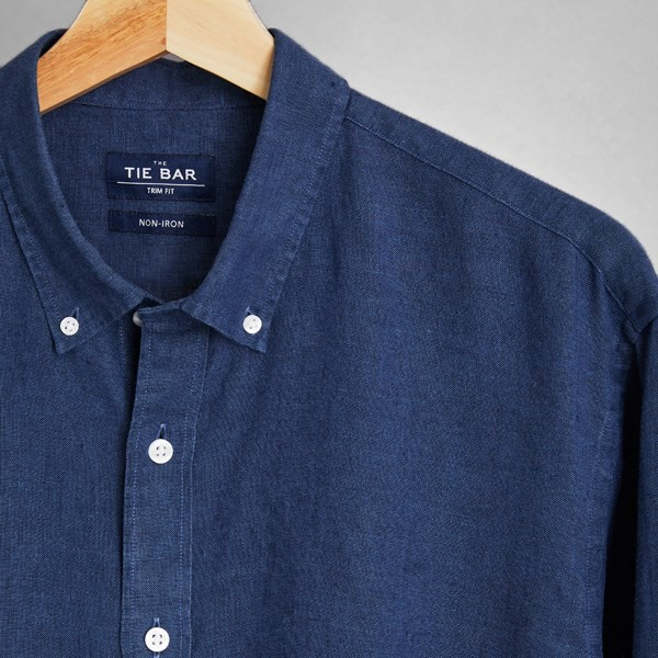 Linen Dark Navy Non-Iron Casual Shirt