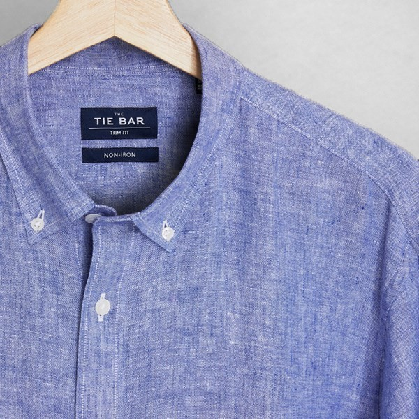 Linen Light Blue Non-Iron Casual Shirt