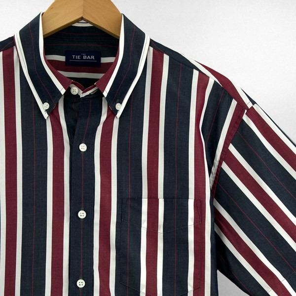 Multi Camp Stripe Navy Short Sleeve Shirt