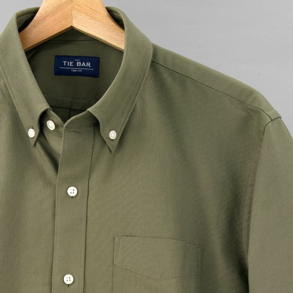 The Modern-Fit Oxford Olive Green Casual Shirt