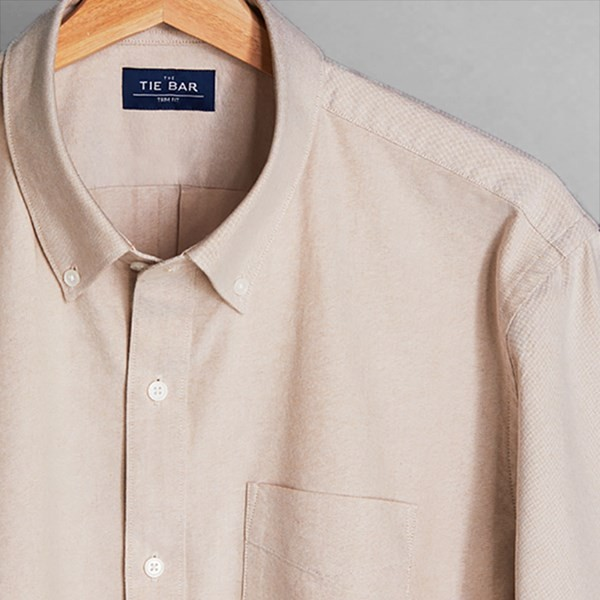 The Modern-Fit Oxford Taupe Casual Shirt