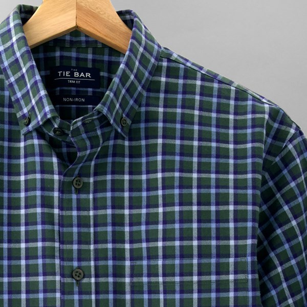 Gingham Flannel Hunter Green Casual Shirt