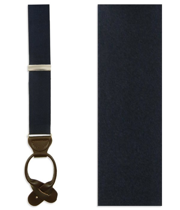 Solid Satin Midnight Navy Suspender