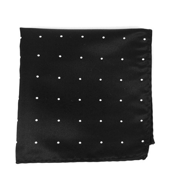 Satin Dot Black Pocket Square