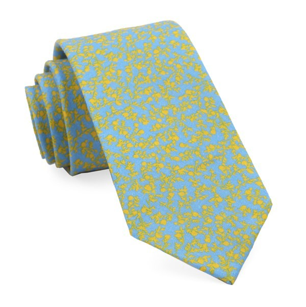 Floral Webb Light Blue Tie