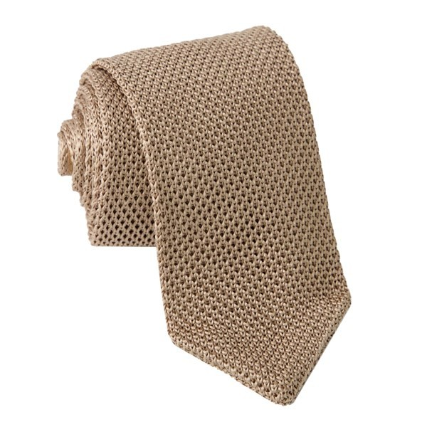 Pointed Tip Knit Light Champagne Tie