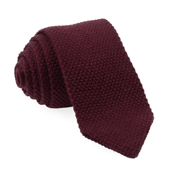 Wool Pointed Tip Knit Burgundy Tie