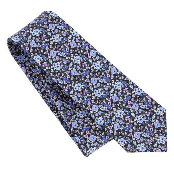 Freesia Floral Charcoal Tie