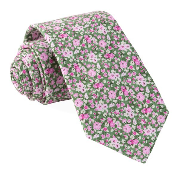 Freesia Floral Olive Tie