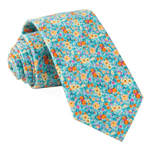 Freesia Floral Turquoise Tie