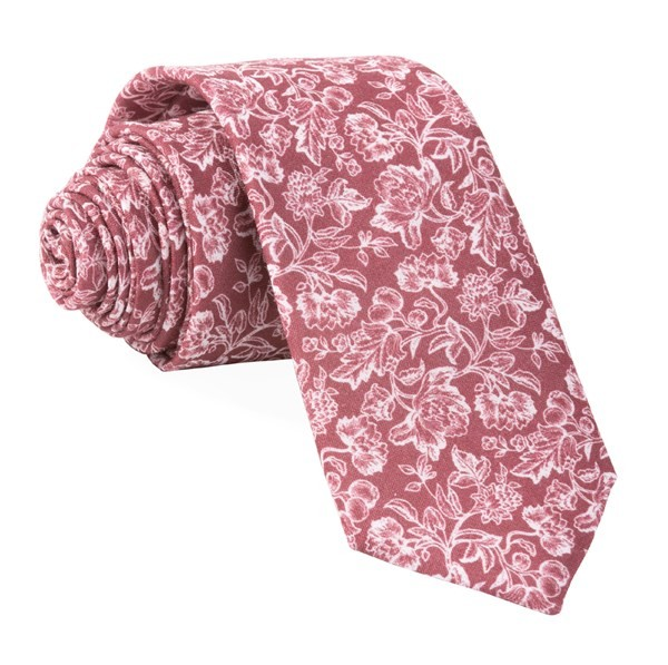 Bhldn Flower Portrait Burgundy Tie