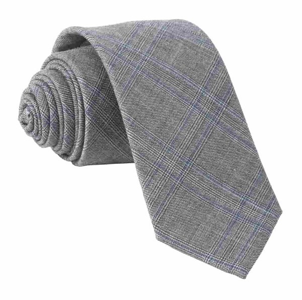 Azur Glen Plaid Grey Tie