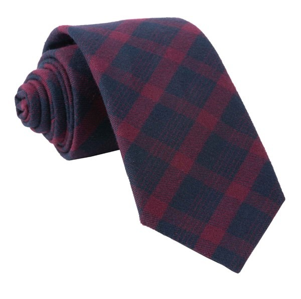 Mark Plaid Burgundy Tie