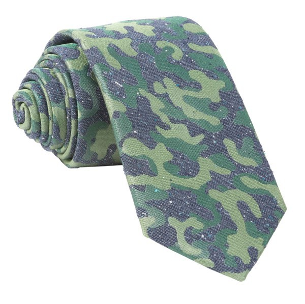 Speckled Camo Olive Green Tie