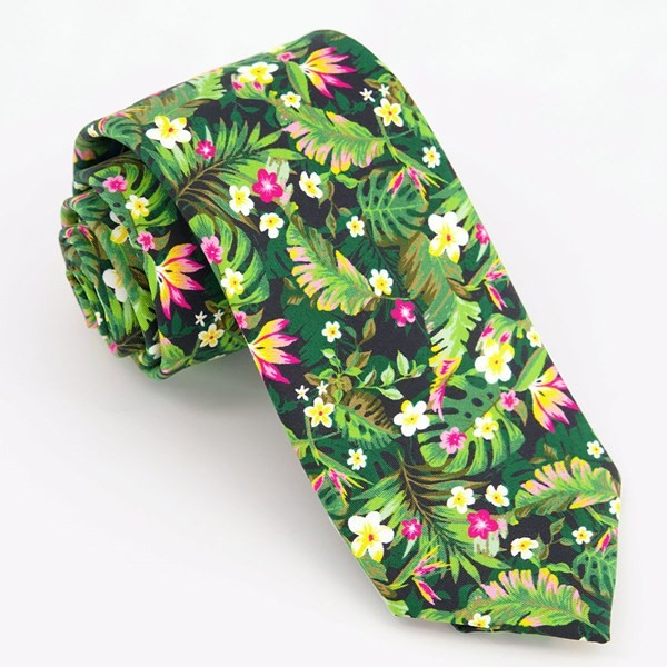 Tropical Blossoms Black Tie