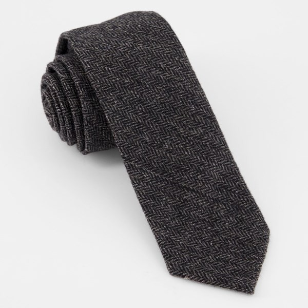 Unlined Herringbone Wool Charcoal Tie